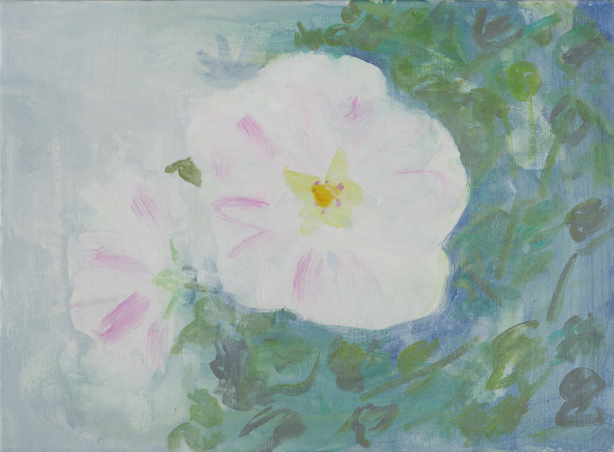 2015年8月小池アミイゴ個展「東日本」での芙蓉の花の絵